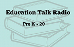 The logo for Education Talk Radio podcast. A outline sketch of books on a light blue background with the words Education Talk Radio Pre-K - 20 overlaid.