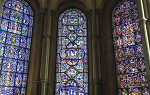 Picture of three panes of stained glass inside Canterbury Cathedral