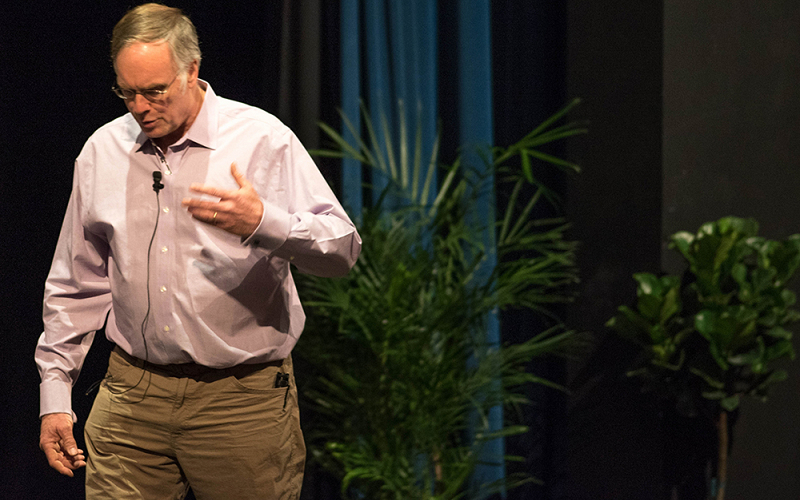 John Elder Robison delivers lecture on embracing neurodiversity in Greenhoe Theater on April 9, 2018.