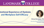 Cover slide from a presentation by Manju Banerjee on Emotional Experience of Dyslexia and Workplace Self-Efficacy
