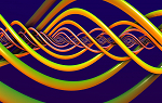 Abstract image of curvy, thick yellow and green lines intertwined on a dark purple background.