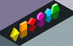 Rainbow colored three-dimensional shapes on a gray background.