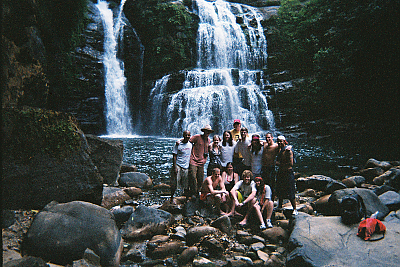 group at the water falls