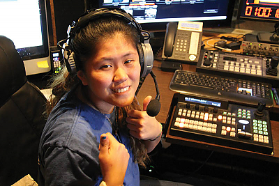 Landmark College student interning at Vermont's Brattleboro Community Television (BCTV).