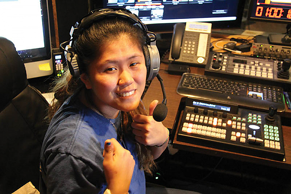 Landmark College student interning at BCTV in Brattleboro, Vermont