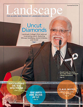 Cover of 2014 issue of Landscape magazine, featuring Russell Cosby at podium