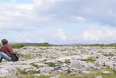 Expansive view of Burren Banner with student at the edge