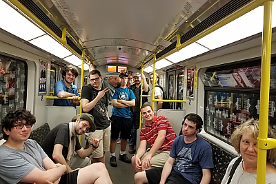 The Berlin group rides the UBahn, or subway