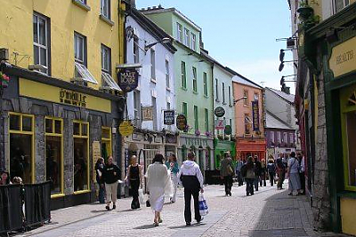 View looking down the main shopping street in Galway