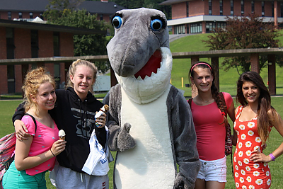 High School Summer Program students with Finn the shark, the Landmark College mascot