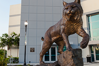 Wildcat statue on the North Miami campus of Johnson and Wales University.