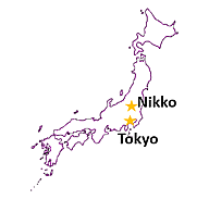 Map of Japan with stars for program destinations Tokyo and Nikko