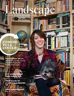 Cover of 2016 issue of Landscape magazine, showing Rae Jacobson in front of bookshelves