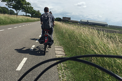 The view from the seat of a bike during a ride along the North Sea. Photo:Erin Crosby