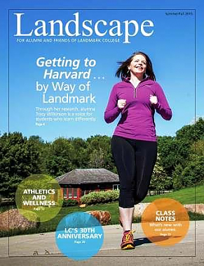 Cover image of 2015 Landscape magazine with alumna running