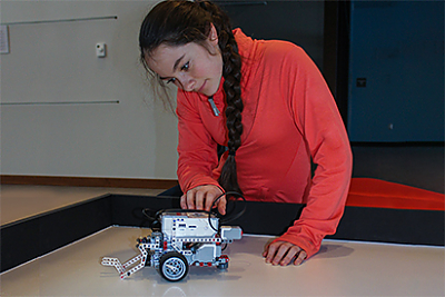 Student learning about robotics