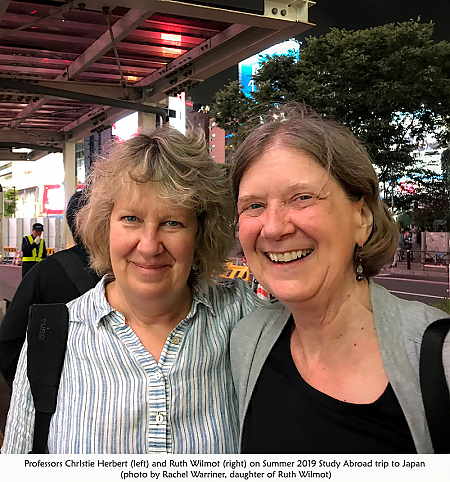 Professors Christie Herbert and Ruth Wilmot smiling for camera during 2019 Summer Study Abroad trip to Japan