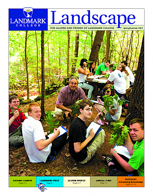 Cover image of 2013 issue of Landscape magazine, showing teacher and students in woods