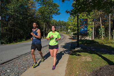 Landmark College students jogging along Robert Rhodes Lane.