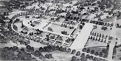 Architectural rendering of the Windham College (now Landmark College) campus