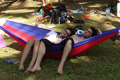 beach day two students in a hammock