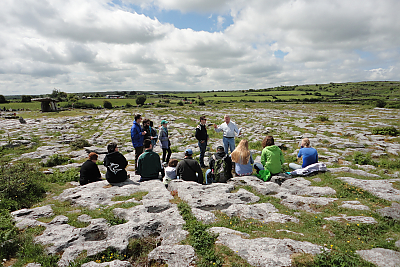 Landmark College students in class outside at Burren Banner