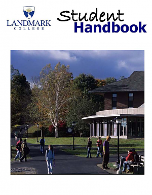 Cover of Landmark College Student Handbook, with images of students in front of dining hall