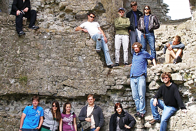 Group shot of the students at a castle