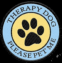 Logo reading THERAPY DOG PLEASE PET ME with image of paw print