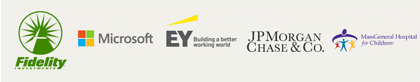 Logos of companies attending the workshop, including: Fidelity, Microsoft, EY, JP Morgan Chase, MassGeneral