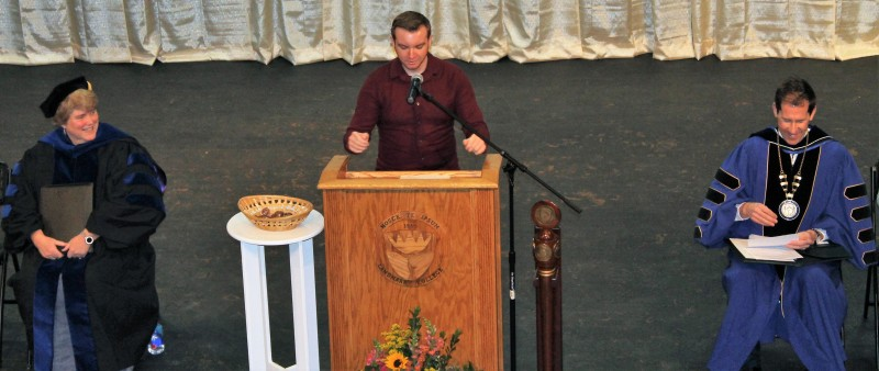 Student Ryan Linkletter gives remarks at 2019 Spring Convocation ceremony