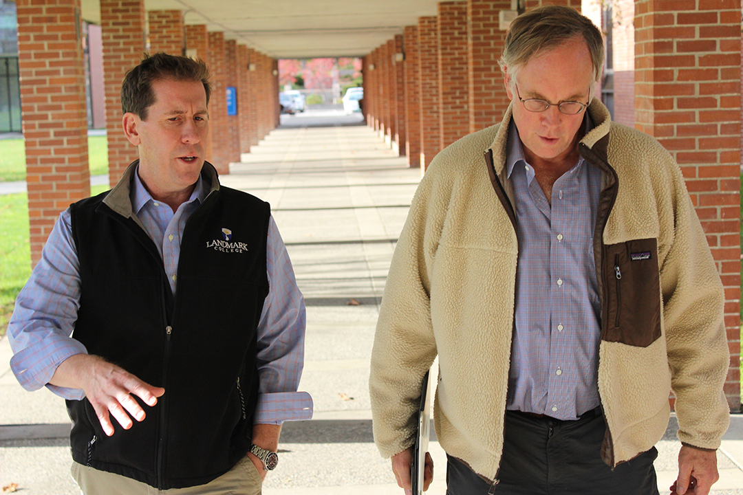 John Elder Robison, right, tours the Landmark College campus with Dr. Peter Eden