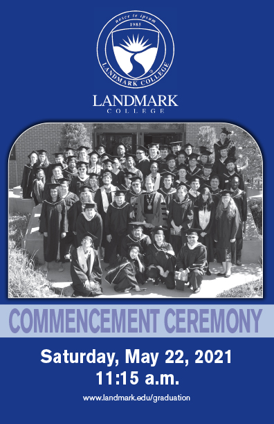 Cover of Spring 2021 Commencement program with College seal, black and white group photo of graduates and date/time for ceremony