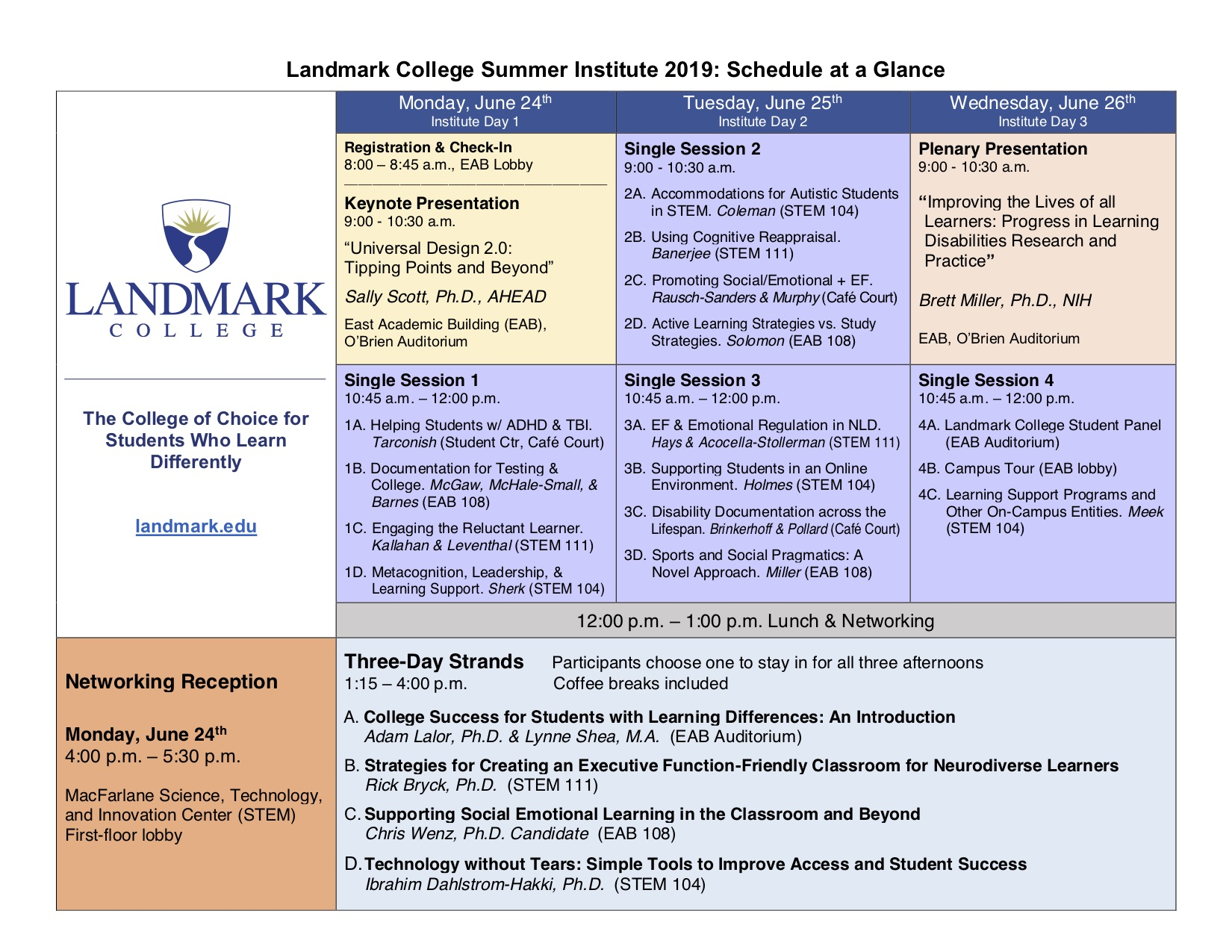 Landmark College Summer Institute 2019 Schedule Overview