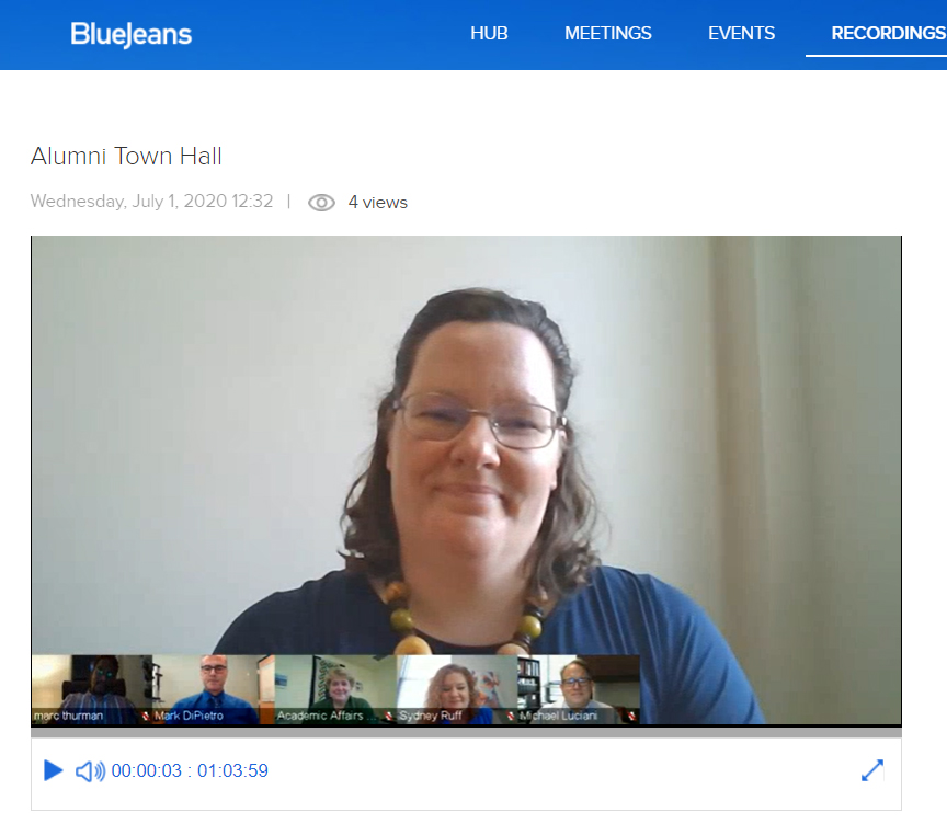 Screen capture of videoconferencing event