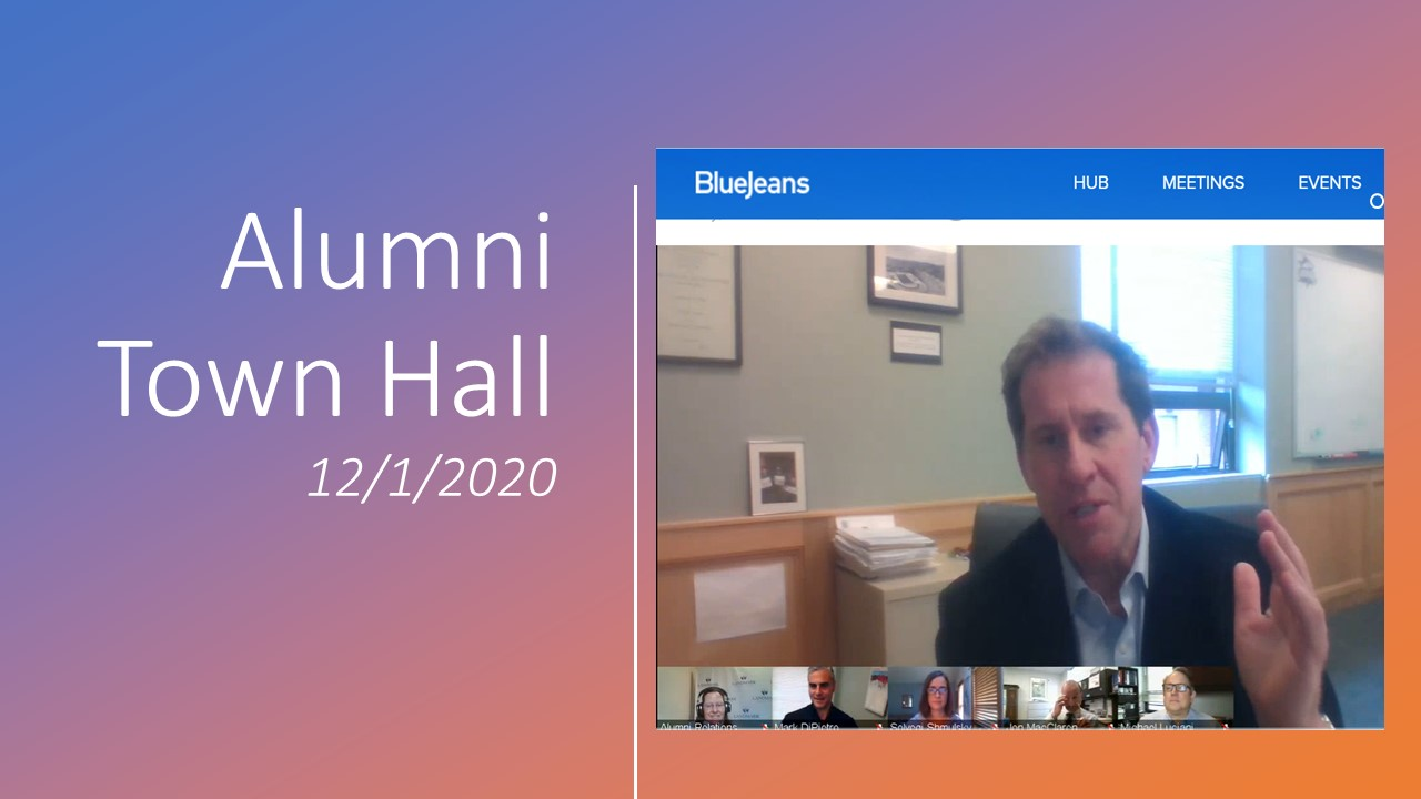Alumni Town Hall video screenshot