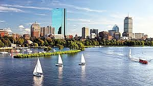 Boston skyline with sailboats