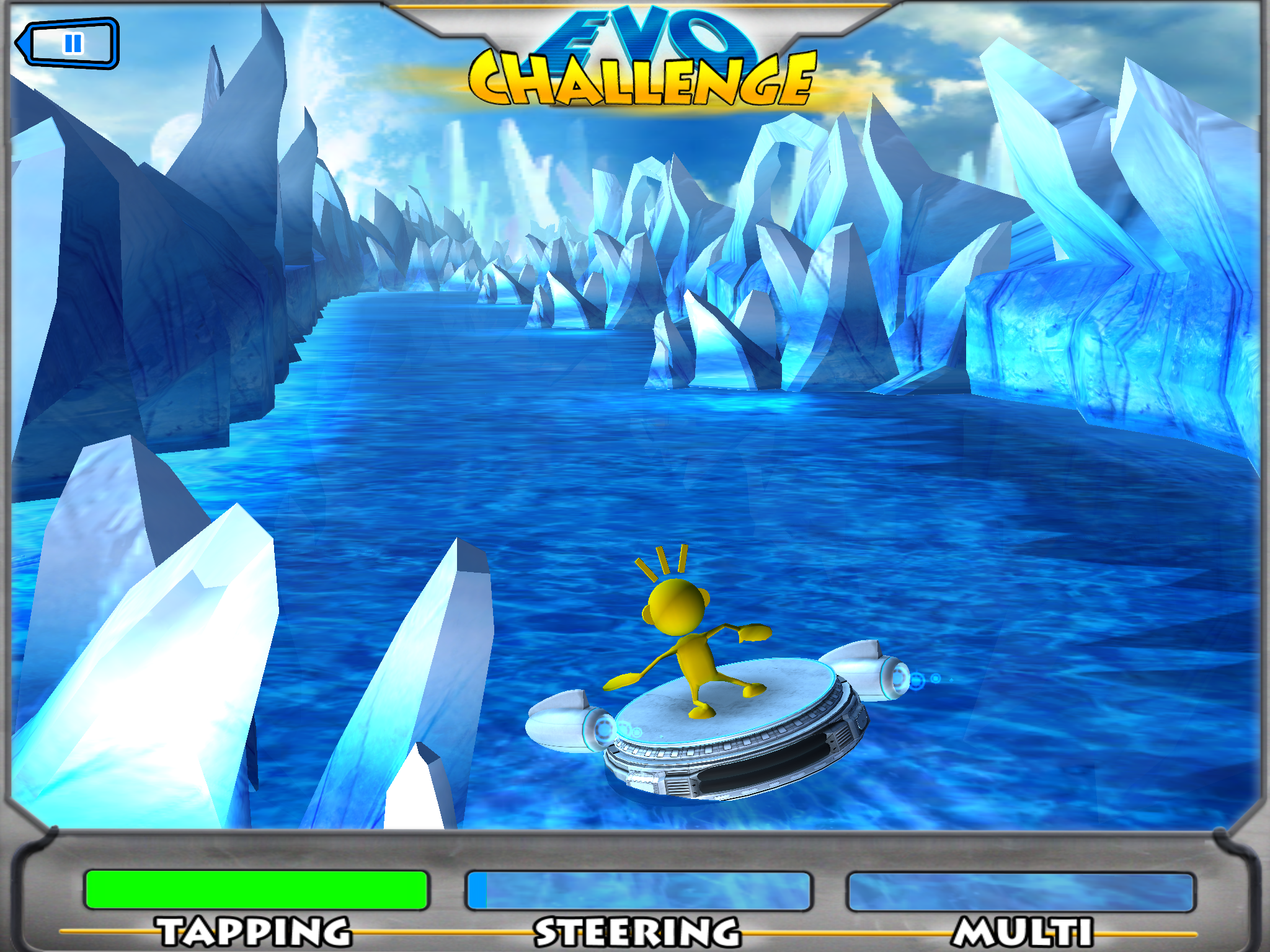 Screenshot of Project Evo showing yellow avatar floating among icebergs with the word CHALLENGE at the top and the words TAPPING, STEERING, and MULTI at the bottom
