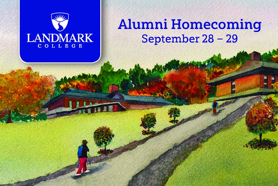 Landmark College Homecoming 2019 watercolor image of the hill from lower campus to upper campus