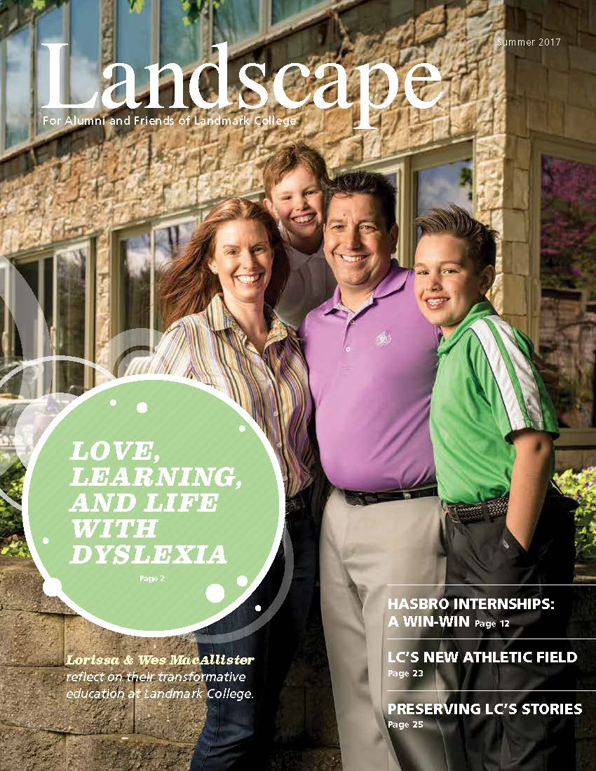Cover of 2016 issue of Landscape, showing Rae Jacobson in front of bookshelves