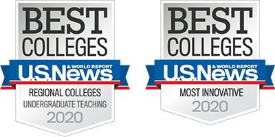 U.S. News and World Reports Best Colleges 2020 Badges awarded to Landmark College for Best Regional College (Northeast) and Most Innovative