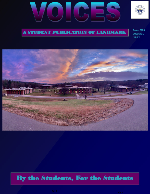 Text in dark blue and purple at top says Voices, a student publication of Landmark, Spring 2020 Volume 1 Issue 1, followed by a panorama photo of lower campus taken from the upper campus