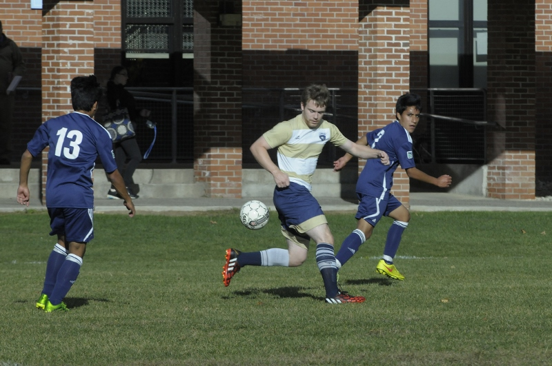 Landmark College students playing soccer on quad