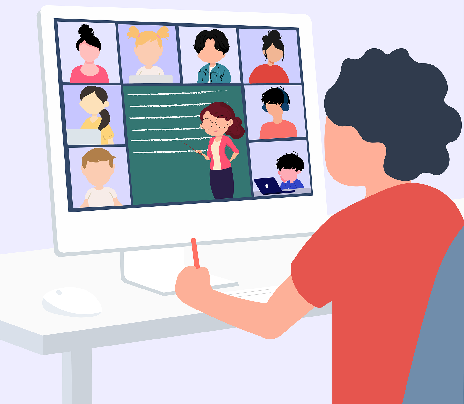 Icon of student looking at video conference on computer screen