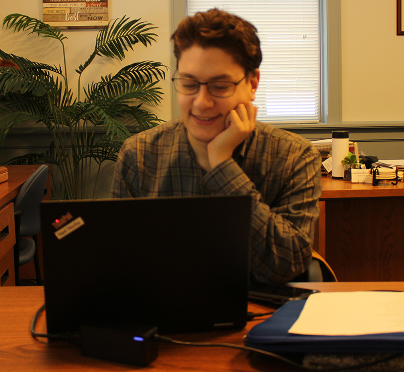 Neil Norby working on a computer during the January 2019 Employment Readiness Experience.