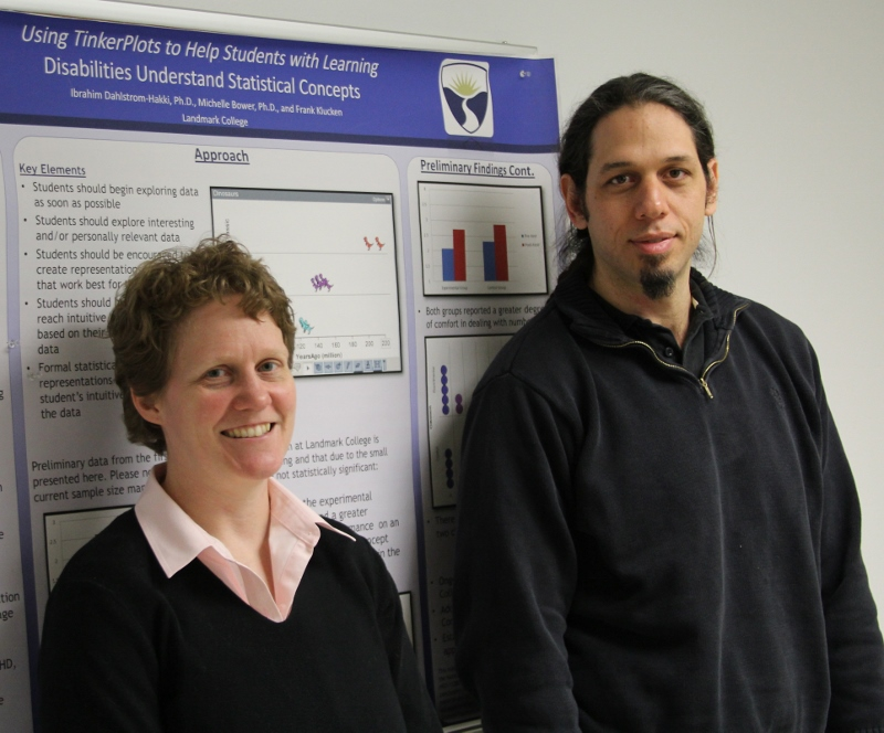 Dr. Michelle Bower and Dr. Ibrahim Dahlstrom-Hakki stand in front of poster
